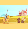 medieval life scene cartoon poster vector image vector image