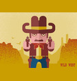 owboy aiming the guns american western man with vector image vector image