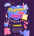 pajama partys invitation card vector image vector image