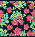 pink roses on a dark background seamless pattern vector image