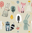 seamless woodland pattern with raccoonfoxbunny vector image