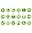 set glossy green buttons for graphical vector image vector image