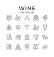 set line icons wine vector image