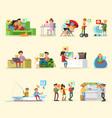 social network elements set vector image