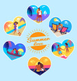 summer love memory photos of couples on vacation vector image vector image
