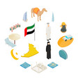 uae icons set isometric 3d style vector image vector image