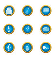 urban area icons set flat style vector image vector image