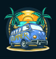 van in summer with a view beach vector image vector image