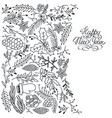 winter festive floral sketch template vector image vector image