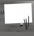 workplace art board paper pencils eraser