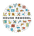 house remodel circle infographics construction vector image