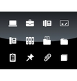 Office icons on black background vector image