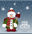 snowman with a shovel isolated on snowy background vector image