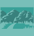 2 mountains and forest flat background in green vector image