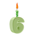 6 years birthday number with festive candle for vector image