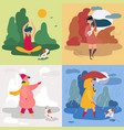 a girl and four seasons and weather snowy rainy vector image vector image