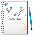 A notebook with an image of two people playing vector image vector image