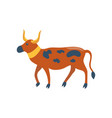 ancient spotted cow with golden collar cartoon vector image vector image