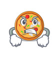 angry pizza mascot cartoon style vector image vector image
