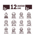 avatar male female men women cartoon character vector image