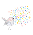 Bird and watercolor splash card vector image vector image