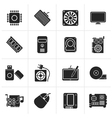Black Computer part icons vector image
