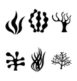 black seaweed icons set vector image vector image