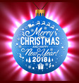 blue christmas ball on a shining background vector image vector image