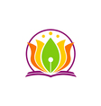 book lotus flower yoga education logo vector image