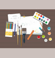 brushes paints colored pencils and paper vector image vector image