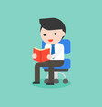 businessman sitting on chair and reading book vector image