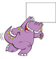 cartoon dinosaur running with a sign vector image vector image
