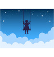 child on a swing above clouds vector image vector image