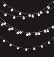 christmas lights strings flat xmas garland vector image