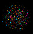colorful circle confetti paper on black background vector image vector image