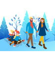 couple with kids walk through winter park together vector image vector image