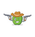 cowboy green apple character cartoon vector image