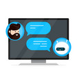 cute smiling chat bot is written vector image