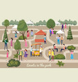 different various people at park characters men vector image