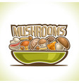 dish with edible mushrooms vector image vector image
