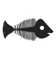 fish skeleton black icon sea water wildlife vector image vector image