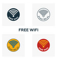 free wifi icon set four elements in diferent vector image