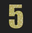 gold sequins number - five glitter font vector image