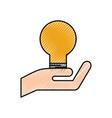 hand holding bulb idea creativity innovation vector image vector image