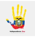 Handprint with the Flag of Ecuador in grunge style vector image