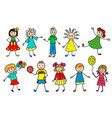 happy smiling kids set design element vector image