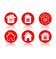 home icons set of round red icons of a building vector image
