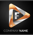 letter f logo symbol in the colorful triangle on vector image vector image