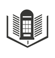 london telephone cabin with education icon vector image vector image