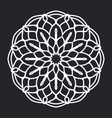 mandala floral pattern black and white silhouette vector image vector image